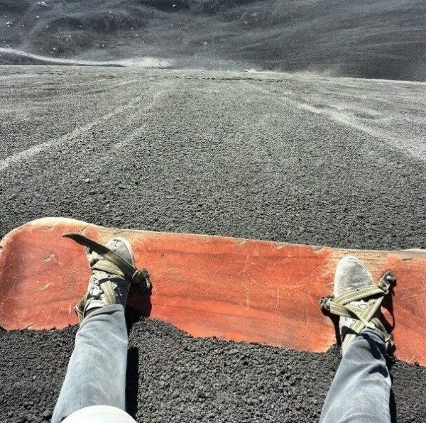 Real men don't snowboard, they volcanoboard